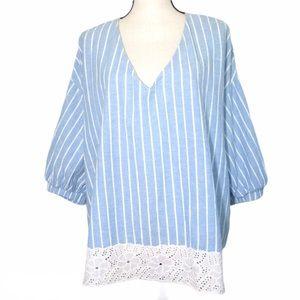Blue White Stripe XL Cotton Eyelet Lace Trim Top